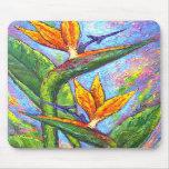 Pintura tropical de la flor de la ave del paraíso  alfombrilla de ratones