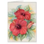 Pintura tropical de la flor del hibisco rojo - mul tarjeta de felicitación