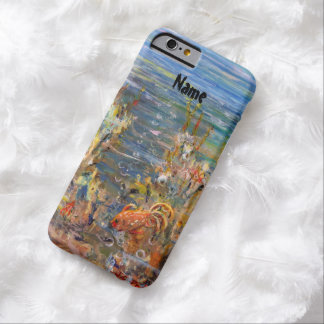 Pintura tropical del acuario de los pescados del funda para iPhone 6 barely there