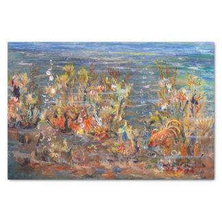 Pintura tropical del acuario de los pescados del papel de seda pequeño