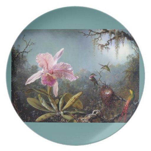 Pintura tropical del bosque de la flor de la orquí platos
