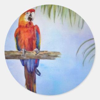Pintura tropical del tema de la playa del pájaro pegatina redonda