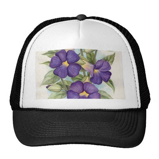 Pintura tropical púrpura de la flor - multi gorra