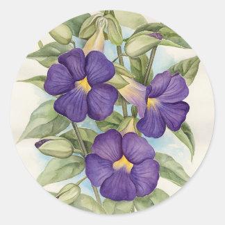 Pintura tropical púrpura de la flor - multi etiquetas redondas