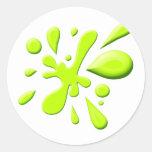 Pintura verde Splodge Pegatina Redonda
