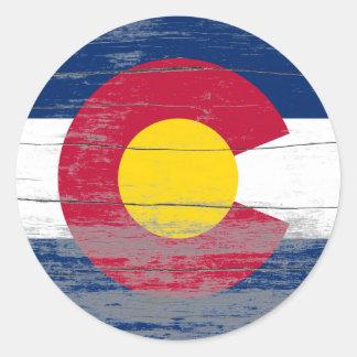 Pintura vieja de Colorado Pegatina Redonda
