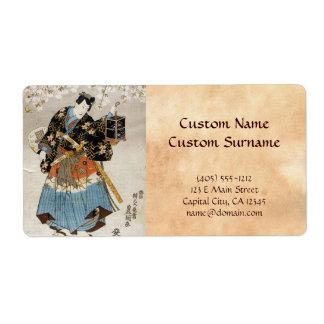 Pintura vieja de la voluta del vintage del samurai etiquetas de envío