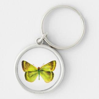 Pintura viva de la mariposa de la acuarela llavero redondo plateado