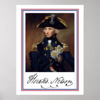 Pintura y autógrafo de Horation Nelson Impresiones
