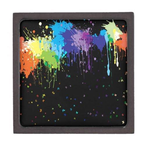 Pinturas abstractas del chapoteo de los colores cajas de joyas de calidad