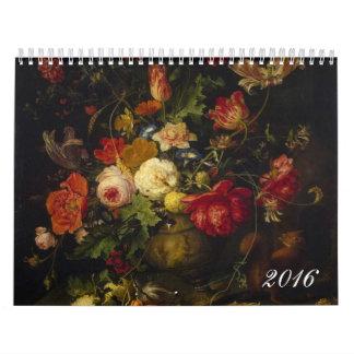 Pinturas al óleo florales del Victorian del Calendarios