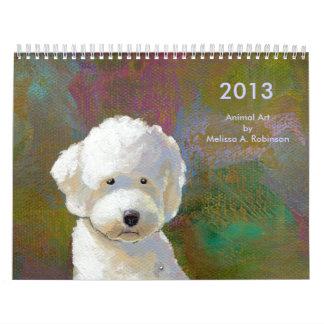 Pinturas animales lindas 2013 del arte feliz de la calendario de pared