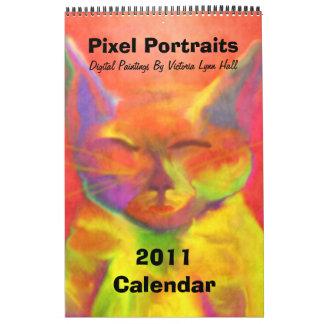 Pinturas de Digitaces de los retratos del pixel Calendario De Pared