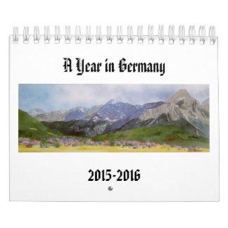 Pinturas de la acuarela de paisajes alemanes calendario de pared