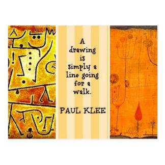 Pinturas de Paul Klee y cita de Paul Klee Postales
