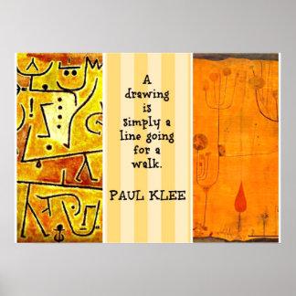 Pinturas de Paul Klee y cita de Paul Klee Póster