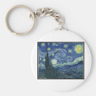 Pinturas de Van Gogh: Noche estrellada Van Gogh Llavero Redondo Tipo Pin