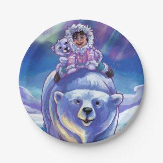 Pinturas del autobús del oso polar plato de papel de 7 pulgadas