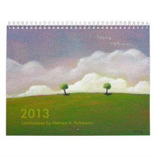 Pinturas esperanzadas 2013 del paisaje de la calendario