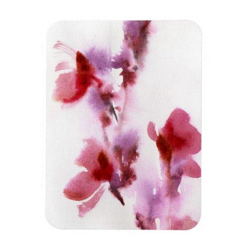 Pinturas florales abstractas 3 de la acuarela imán rectangular