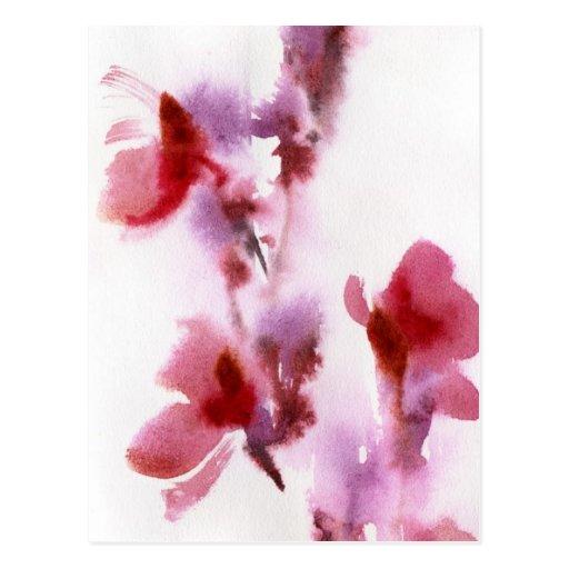 Pinturas florales abstractas 3 de la acuarela postal