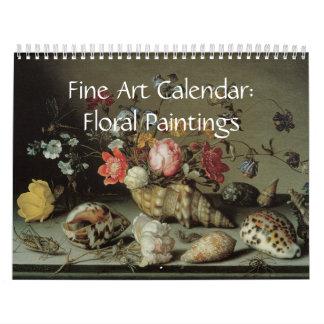 Pinturas florales del calendario de la bella arte