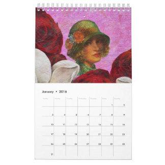 Pinturas hermosas del vintage calendarios
