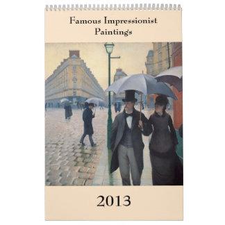 Pinturas impresionistas famosas 2013 calendarios de pared