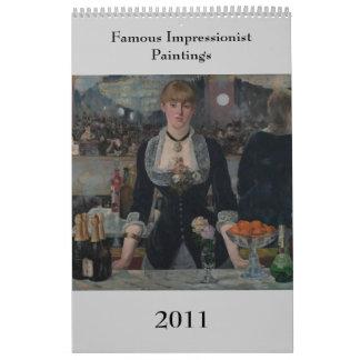 Pinturas impresionistas famosas calendarios de pared