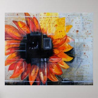 Pinturas originales de la flor roja impresiones