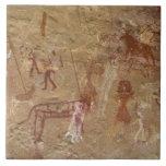 Pinturas prehistóricas de la roca, Akakus, Sáhara Azulejo Cuadrado Grande