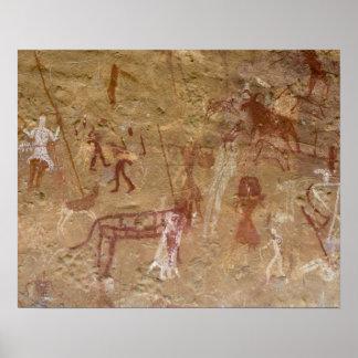 Pinturas prehistóricas de la roca, Akakus, Sáhara Póster