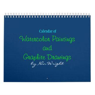 Pinturas y calendario de los dibujos