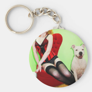 Pinup and Pete Basic Round Button Keychain