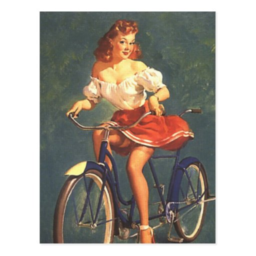 Pinup Beauty On Her Bike Postcard