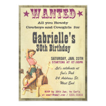 Pinup Cowboy Country Style Birthday Invitation