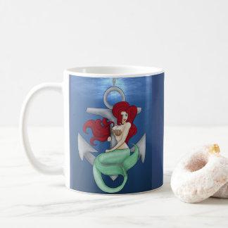 Pinup Girl, Anchor Mermaid Under the Ocean Coffee Mug