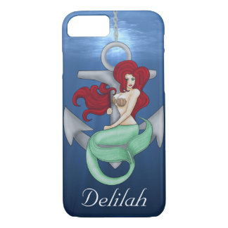 Pinup Girl, Anchor Mermaid Under the Ocean iPhone 8/7 Case