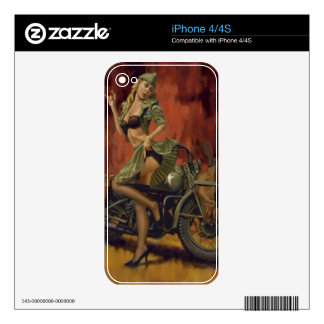 PINUP GIRL AND MOTORCYCLE. iPhone 4S SKIN