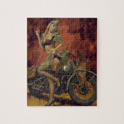 Military Pinup Girl Motorcycle Jigsaw
