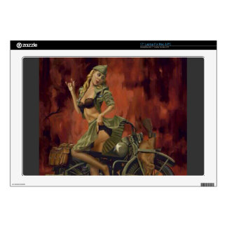 PINUP GIRL AND MOTORCYCLE. LAPTOP DECAL