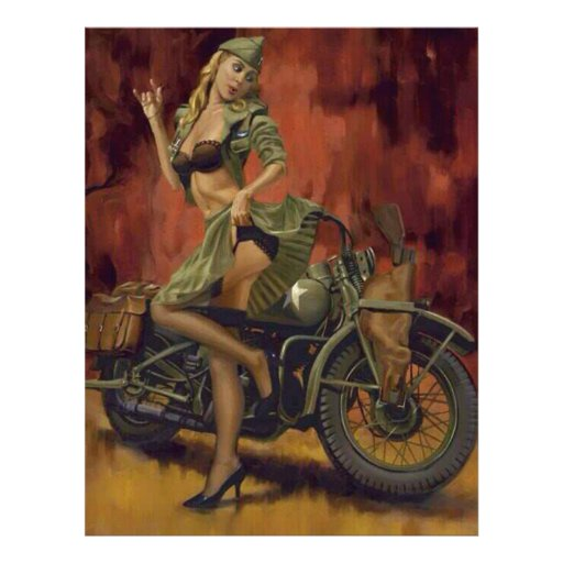 PINUP GIRL AND MOTORCYCLE. LETTERHEAD