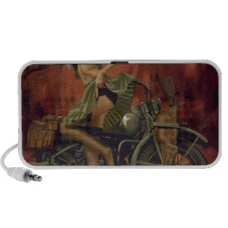 PINUP GIRL AND MOTORCYCLE iPhone SPEAKER
