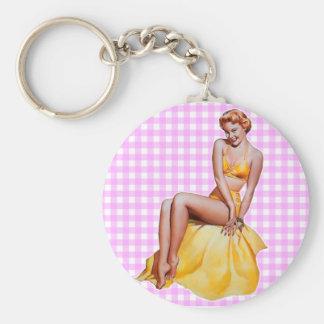 Pinup Girl Basic Round Button Keychain