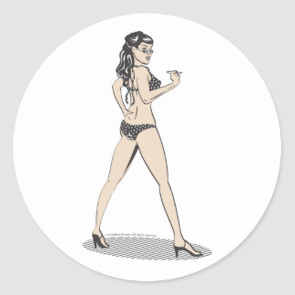 Pinup girl beach babe classic round sticker