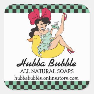 pinup girl ducky handmade soap bath beauty square sticker