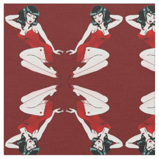 Pinup Girl Fabric Retro Tattoo Pin Up Girl Fabric