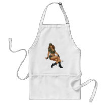 army, military, pinup, girl, woman, wife, wives, boots, camo, Apron with custom graphic design