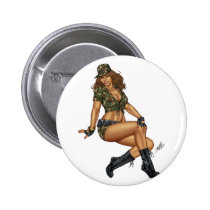 army, military, pinup, girl, woman, wife, wives, boots, camo, Button with custom graphic design
