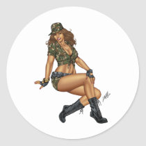 army, military, pinup, girl, woman, wife, wives, boots, camo, Sticker with custom graphic design